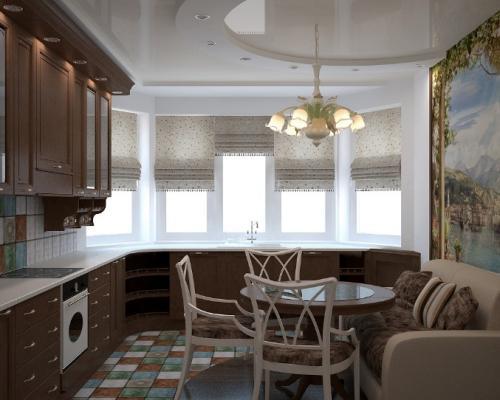 Дизайн кухни с эркером. Сове.  Кухонный гарнитур по периметру