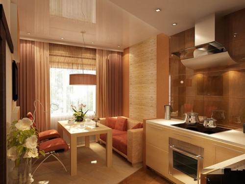 Дизайн кухни с диваном угловым. Вдоль одной стены с гарнитуром