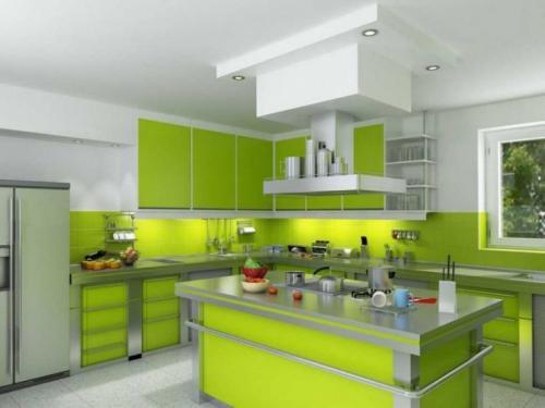 К зеленому кухонному гарнитуру обои. Кухонная мебель салатового цвета