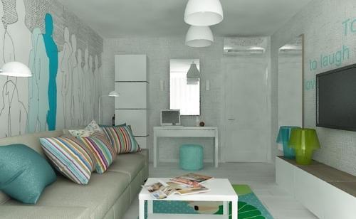 Бюджетный дизайн однокомнатной квартиры. Бюджетный дизайн интерьера для однокомнатной квартиры в мятных тонах