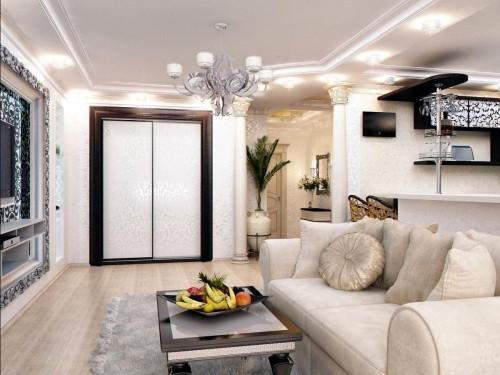 Дизайн прихожей совмещенной с гостиной. Совмещать: за и против