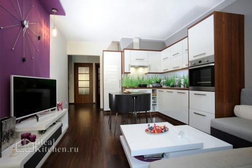 Студия гостиная и кухня. Планировка кухни-гостиной — где поставить кухонный гарнитур