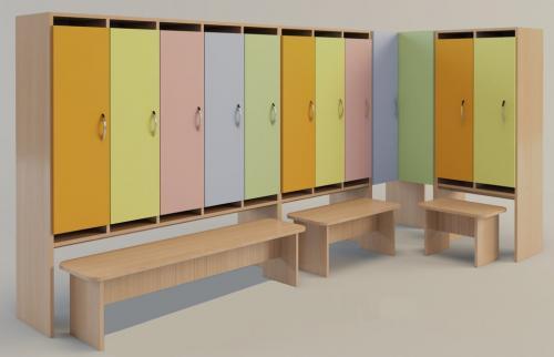 Шкафчик в раздевалку детского сада. Разнообразие моделей