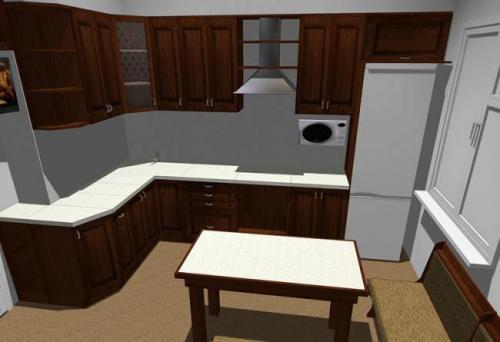 Балки на потолке на кухне. Классическая кухня из массива 10 кв.м. с потолочными балками